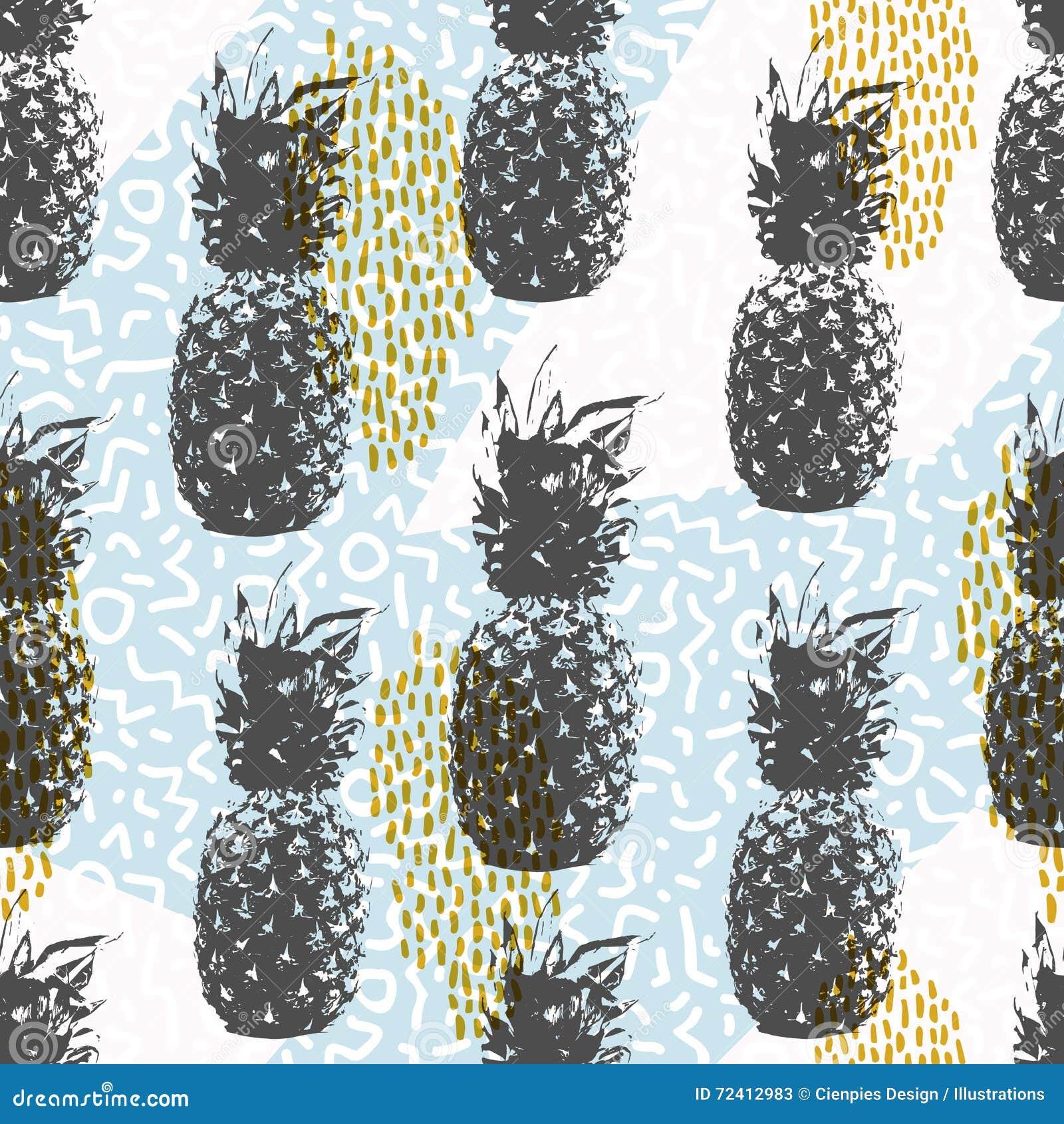 Retro naadloze patroon van de de jaren  80zomer met ananas
