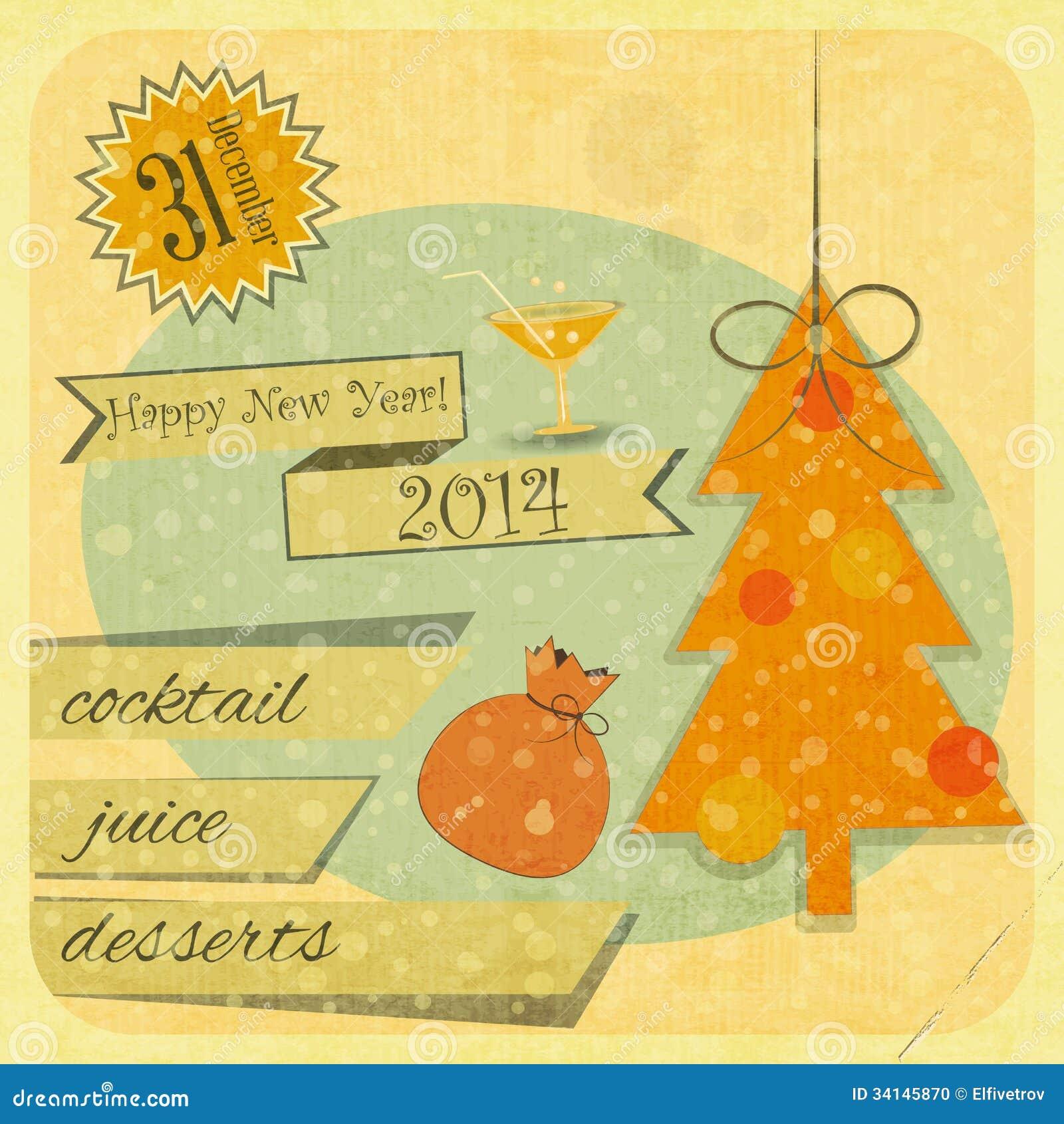 retro new years card