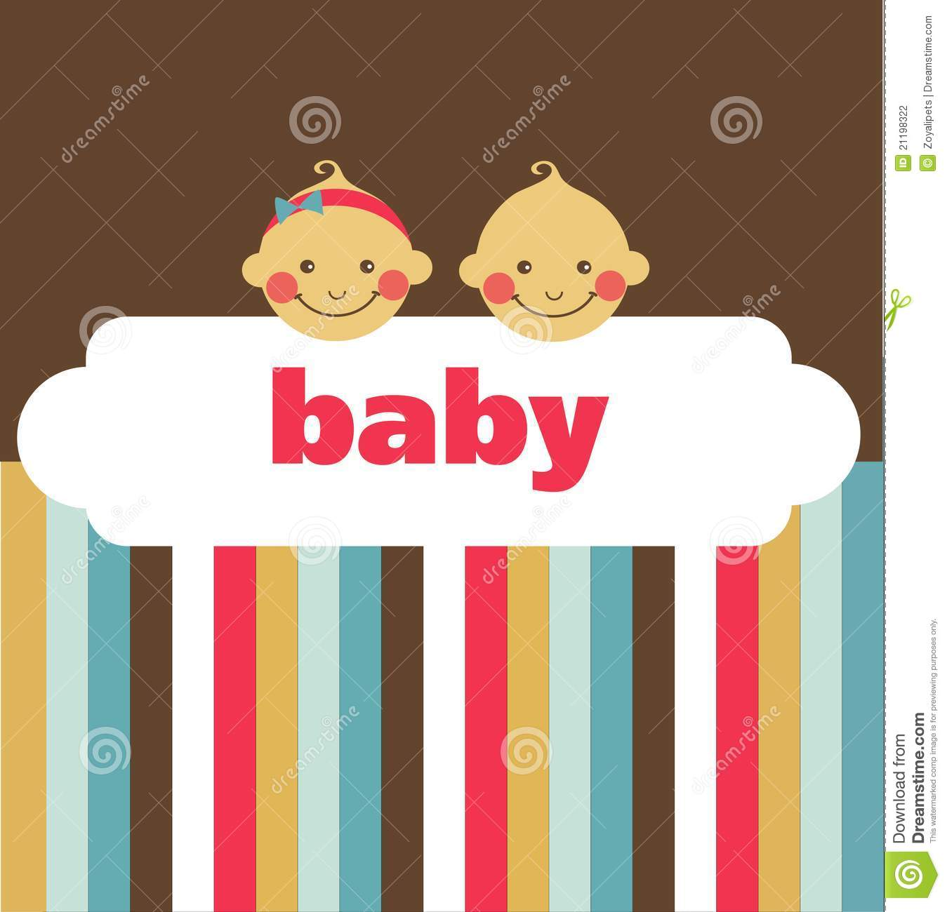 Retro newborn baby card with boy and a girl