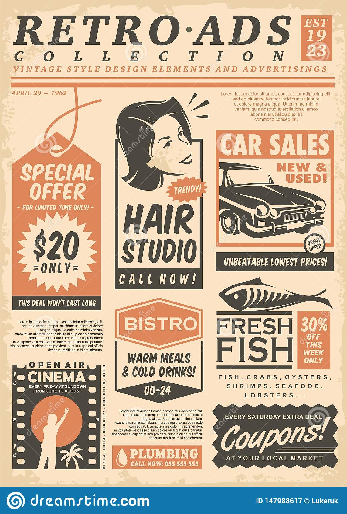 Retro Newspaper Ads Collection Stock Vector - Illustration ...
