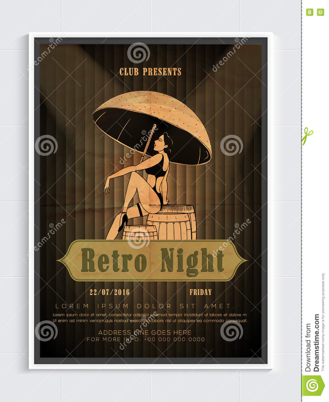 Retro Night Party Flyer Template Or Banner Design – Retro Flyer Template