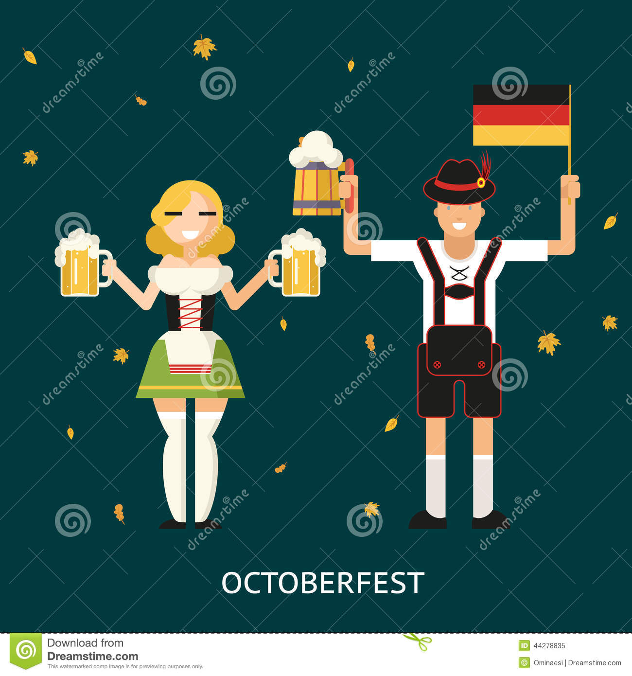 Retro Oktoberfest Male And Female Characters In Stock Vector
