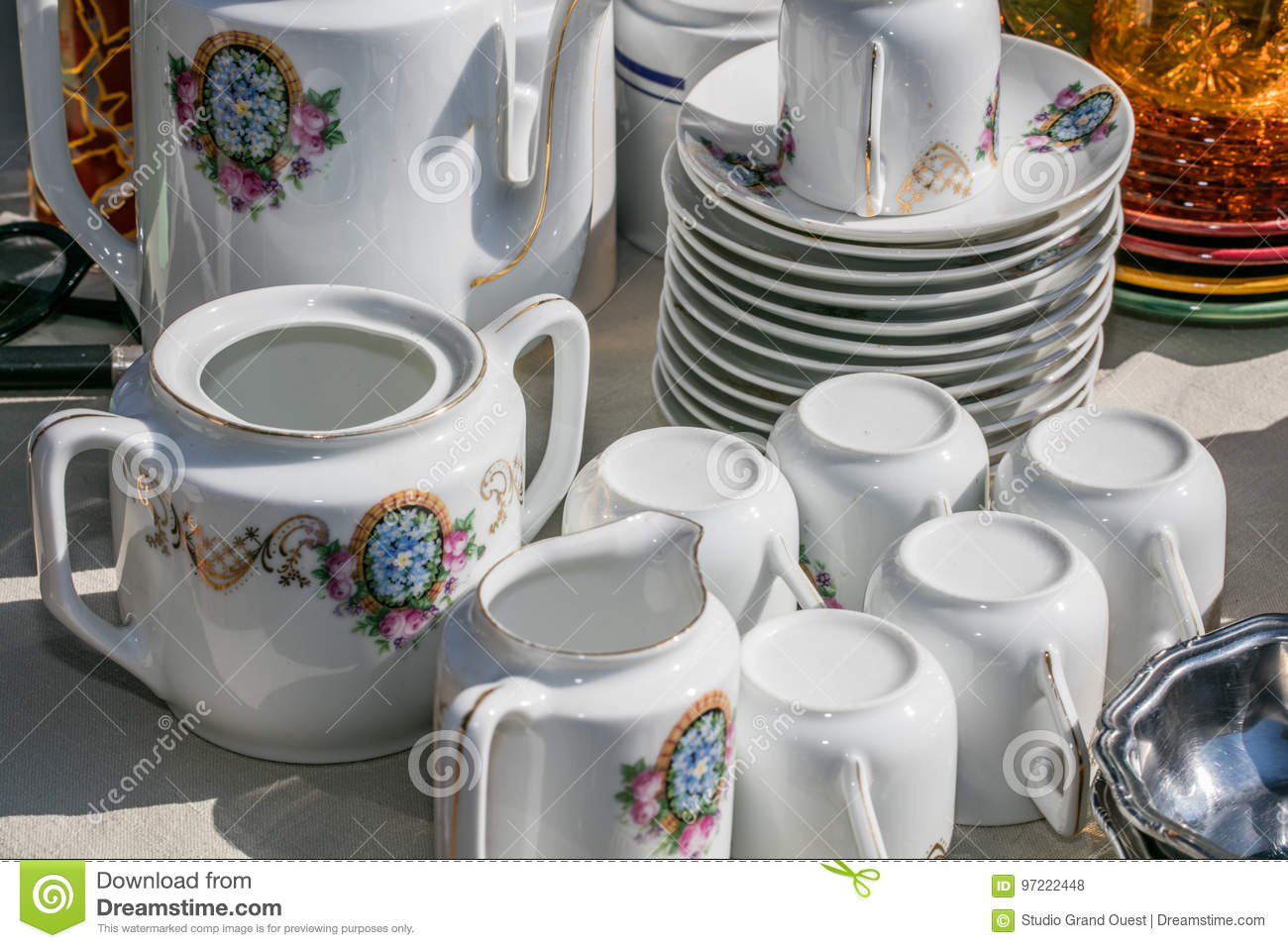 Retro Old Coffee Set With Cups Plates And Coffee Pot Stock Photo