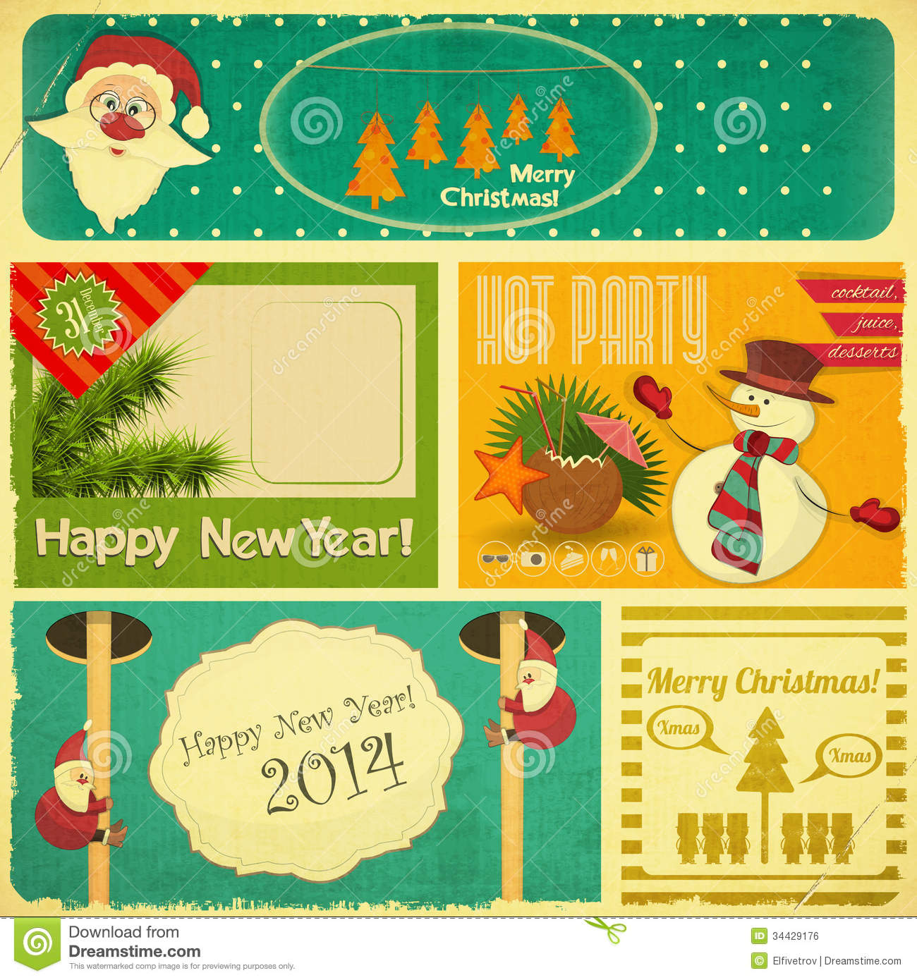 retro old merry christmas and new years card