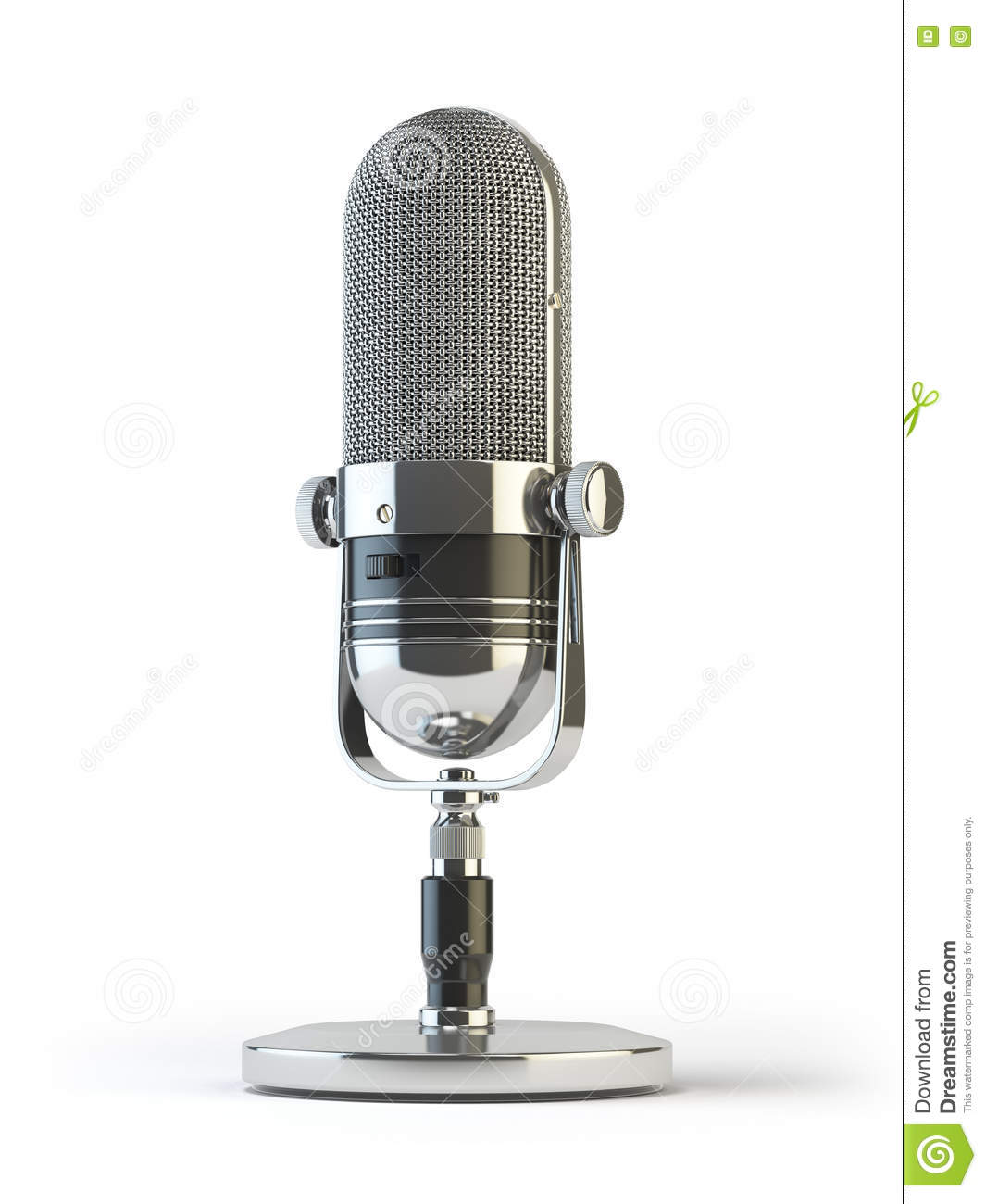 Retro old microphone isolated on white. Vintage,