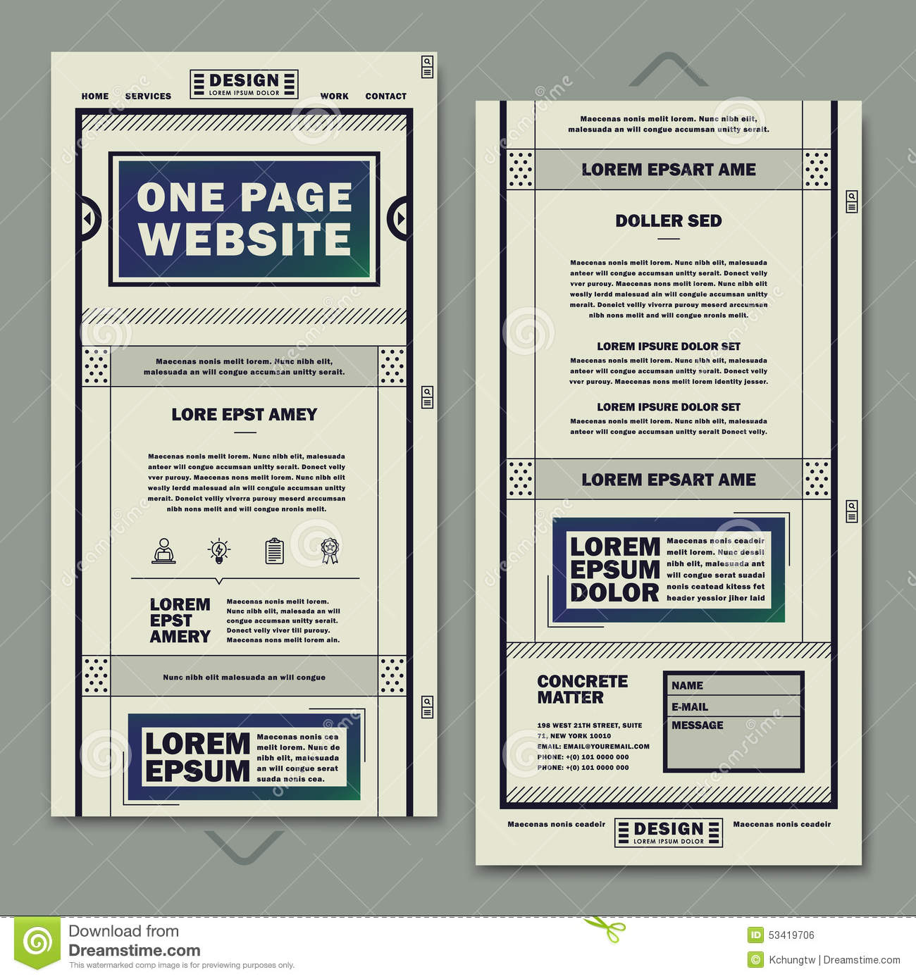 retro one page website template design stock vector image 53419706