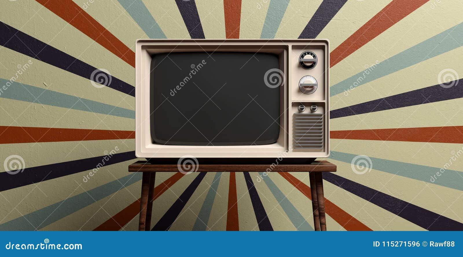 Retro oude TV op achtergrond van de circus de uitstekende muur 3D Illustratie