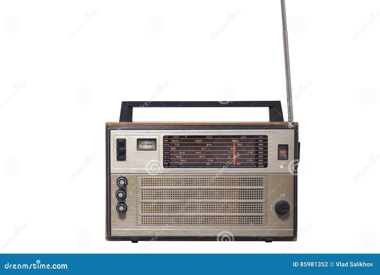 Retro oude uitstekende radiodievoorzijde op witte achtergrond wordt geïsoleerd
