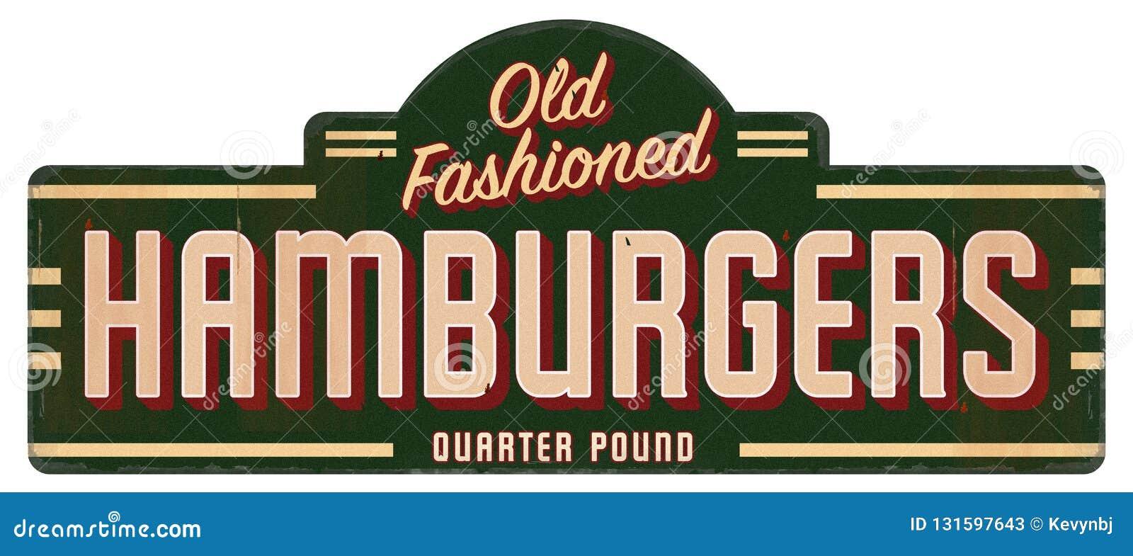 Retro Ouderwetse het Kwartpounder van het Hamburgerteken
