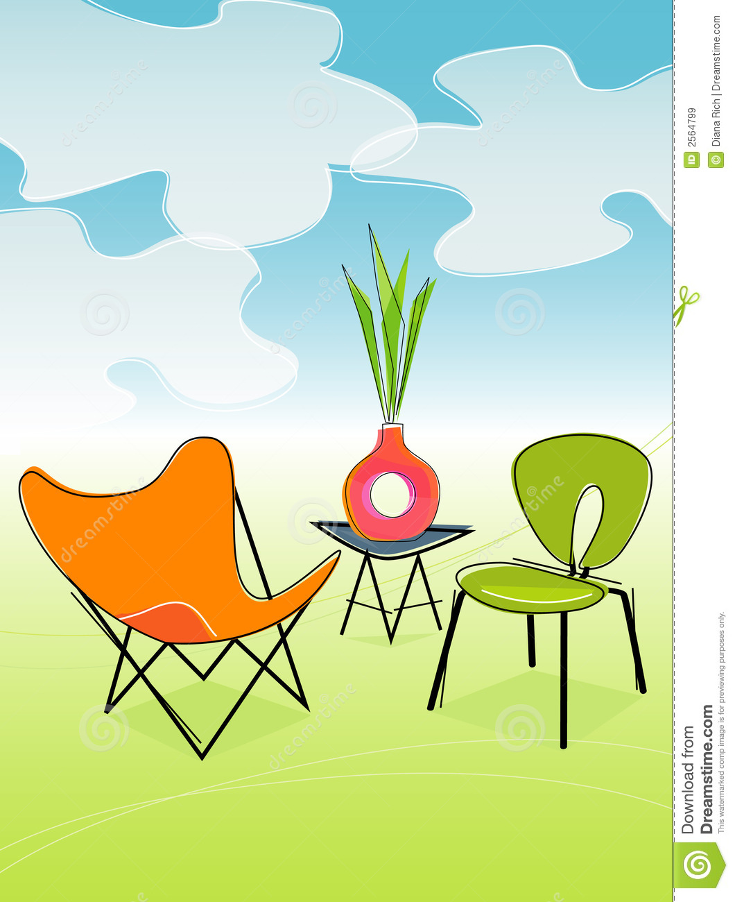 ... Outdoor Patio (Vector) Royalty Free Stock Images - Image: 2564799