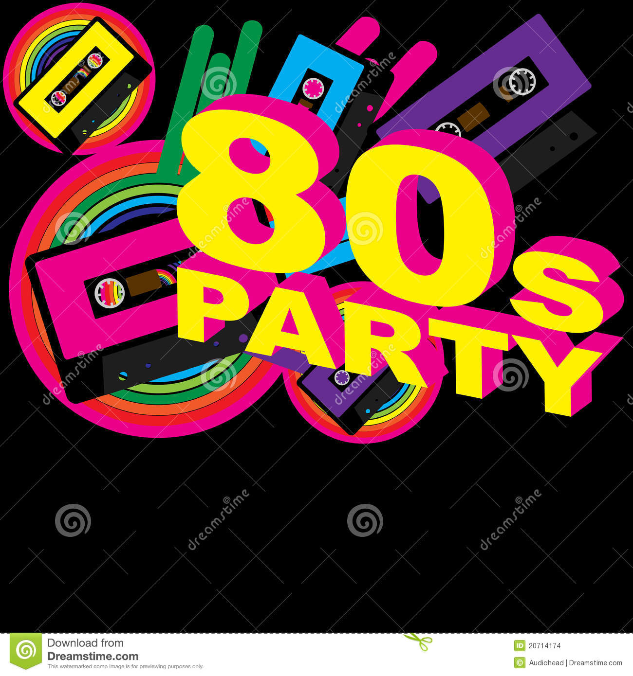 ... Audio Cassette Tape and Disco Sign on Multicolor Background - Vector