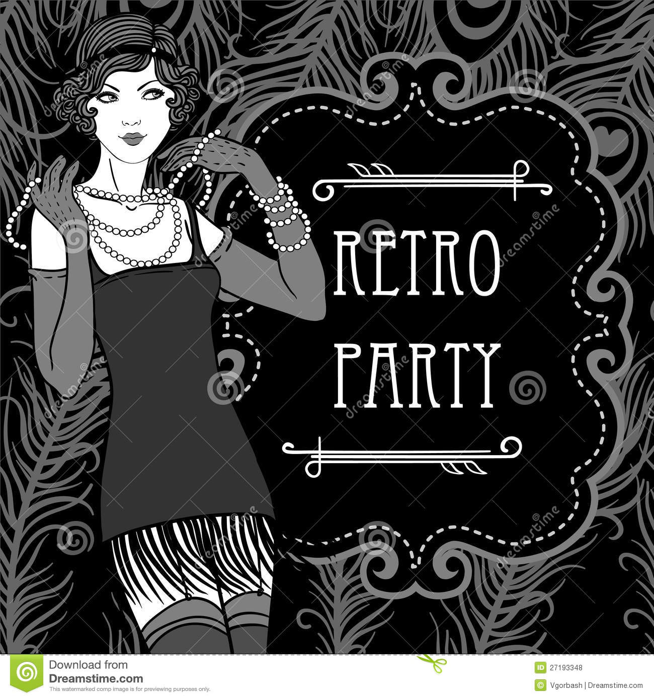 Retro Party Invitation Design In 20 S Style Stock