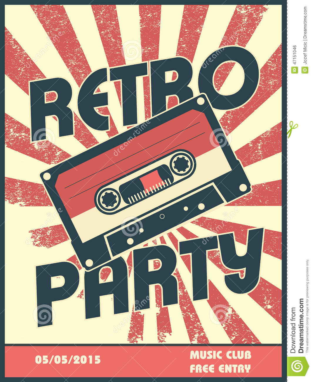 Retro party music poster design with vintage style stock - Retro vintage ...