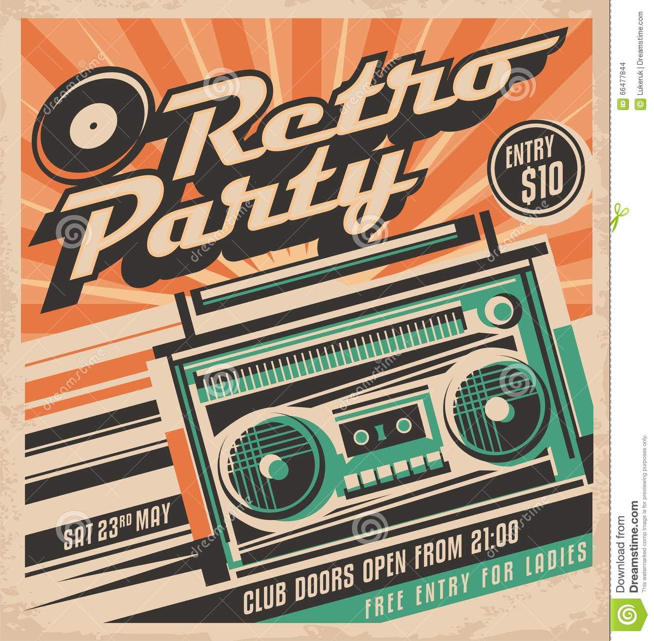 80s poster design - Retro Party Poster Design Concept Stock Images