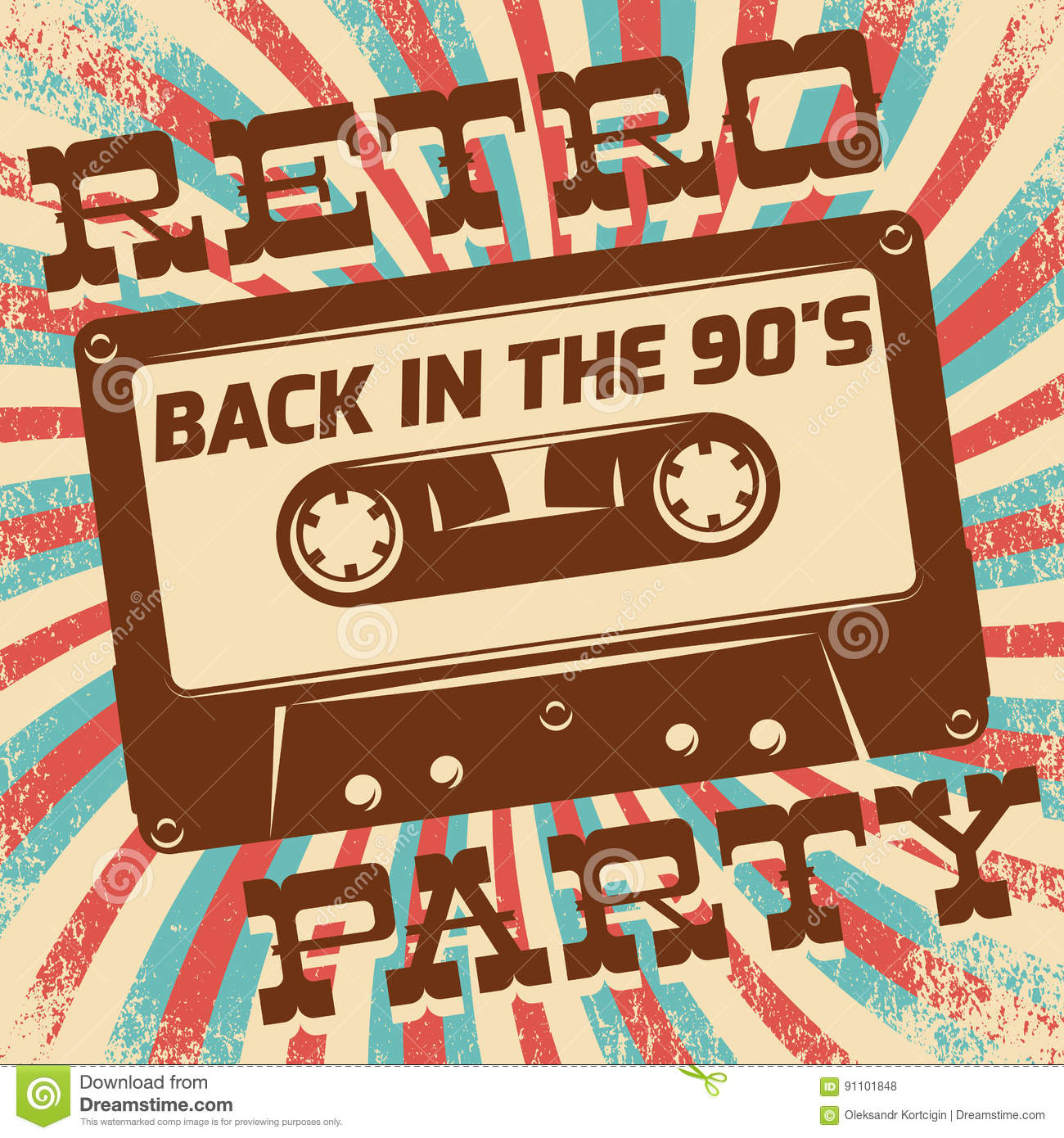 Retro Party Poster Design Disco Music Event At Night Club Vintage