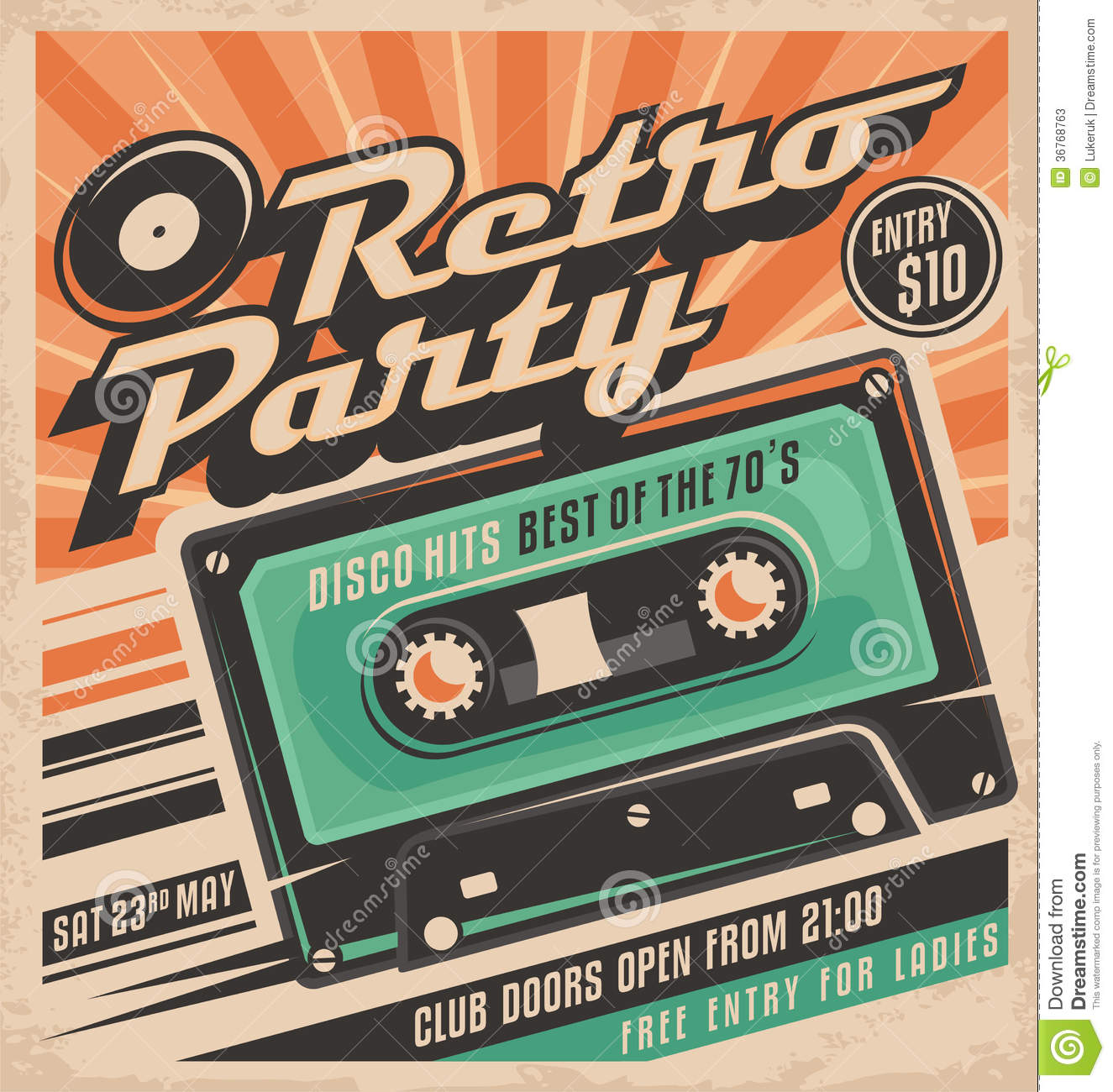 Retro Party Poster Design Template Stock Vector Illustration Of - Party invitation template: club party invitation template