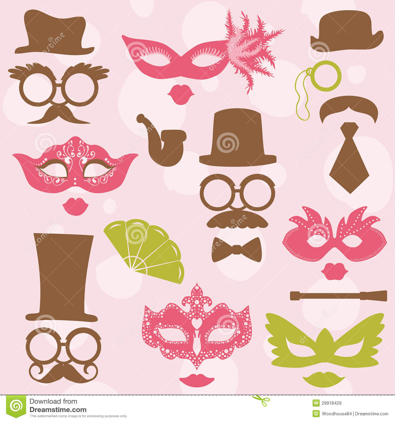 Retro Party set - Glasses, hats, lips, mustaches, masks - for design ...