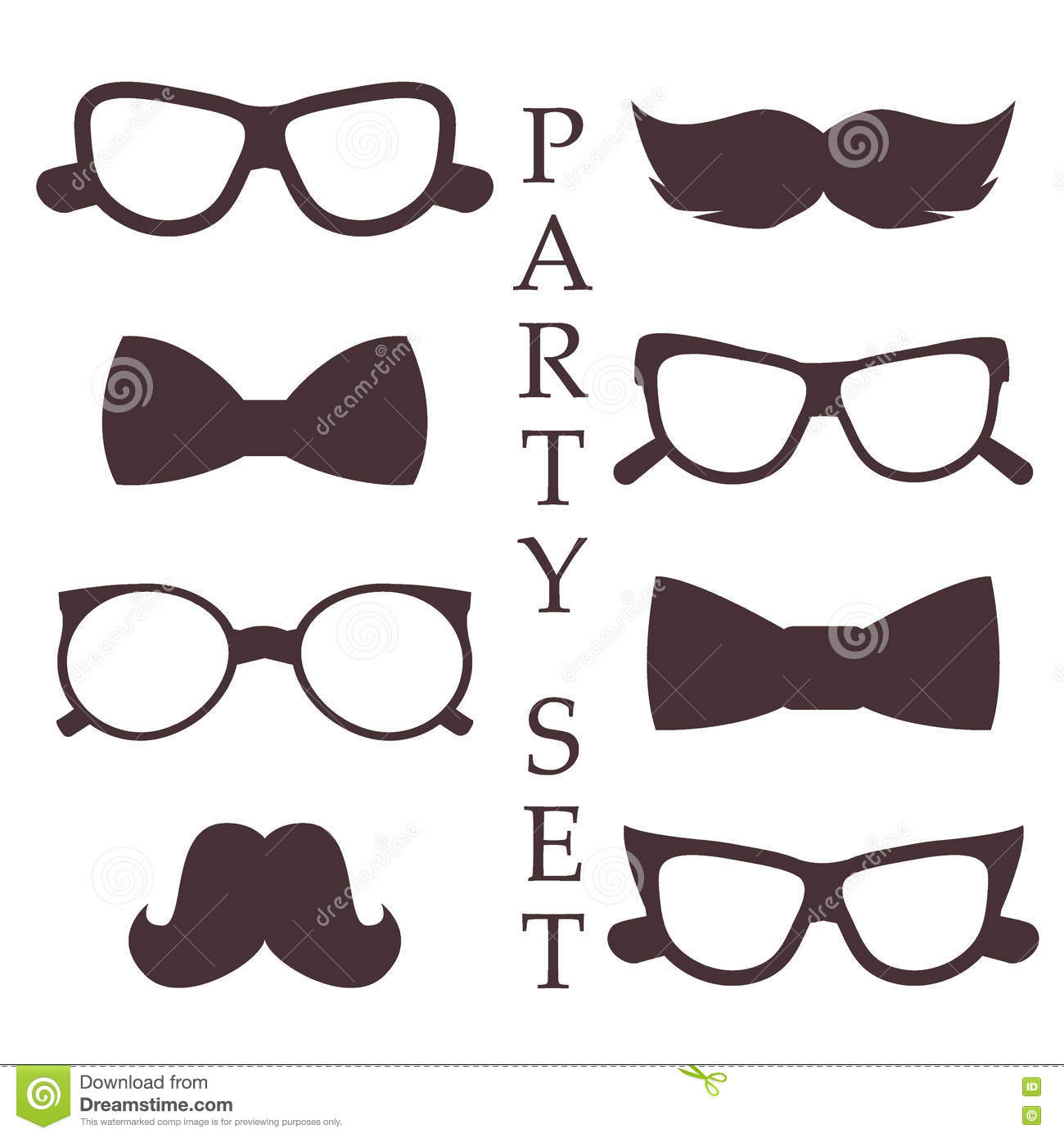 Set Of Funny Mustache Retro Style Vector Illustration Vector Illustration