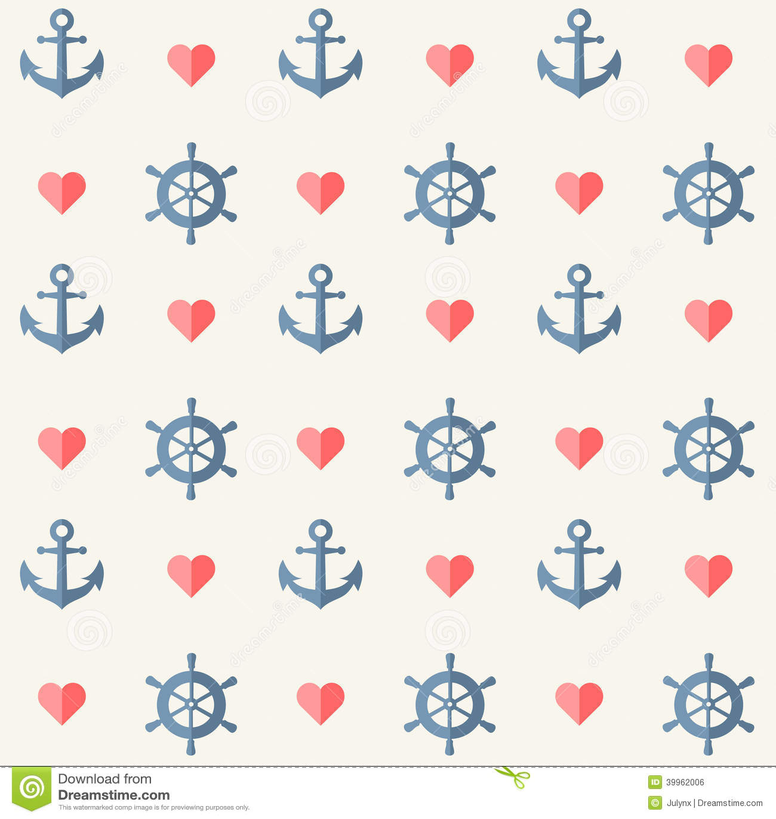 Retro Pattern - Anchors, Ship Wheels And Hearts Stock ...