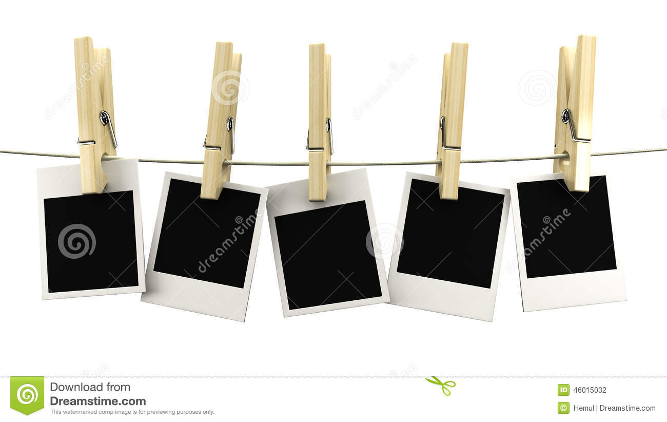 Retro Photo Frame Hanging On A Rope On Wooden Clothespins Stock