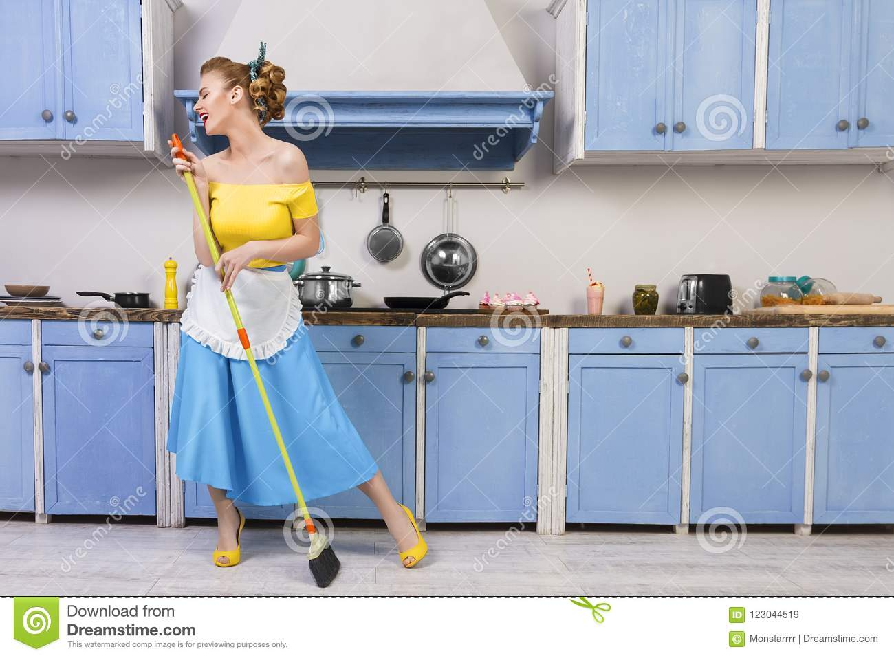 Retro Pin Up Girl Housewife In The Kitchen Stock Image - Image of ...