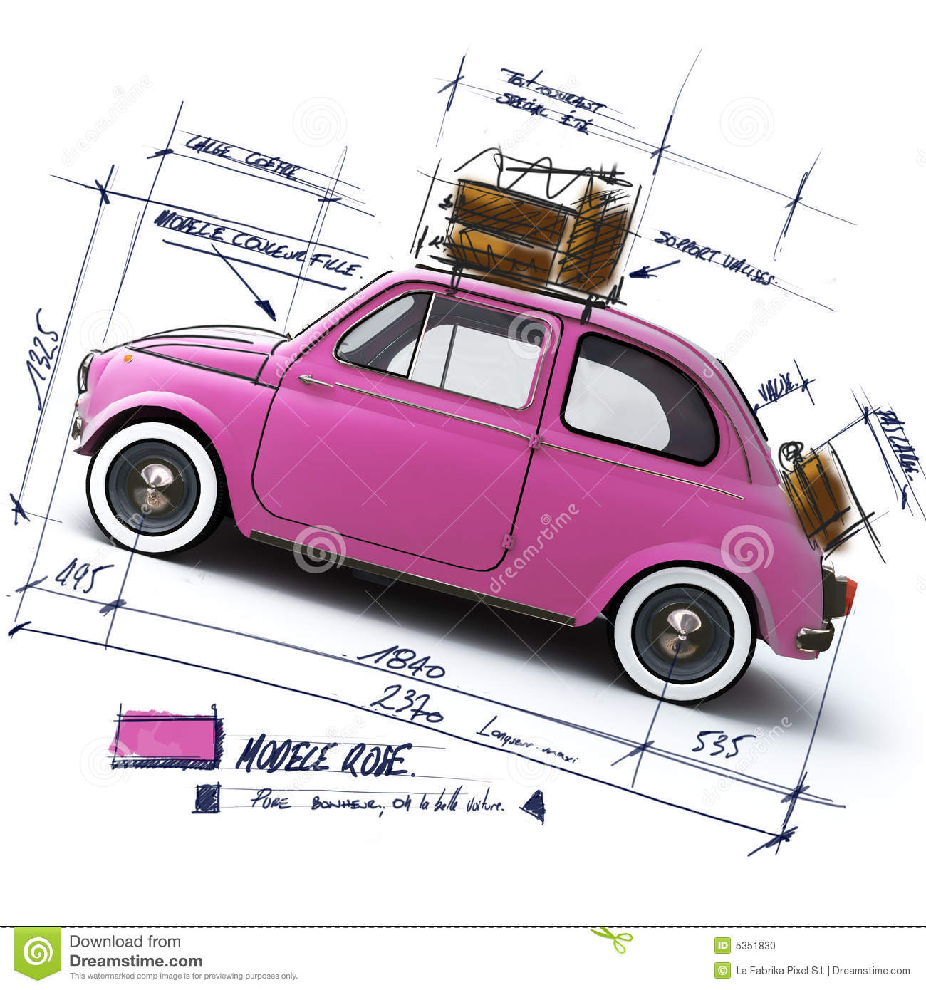 Retro pink car design stock photo image 5351830 for Coupe architecture