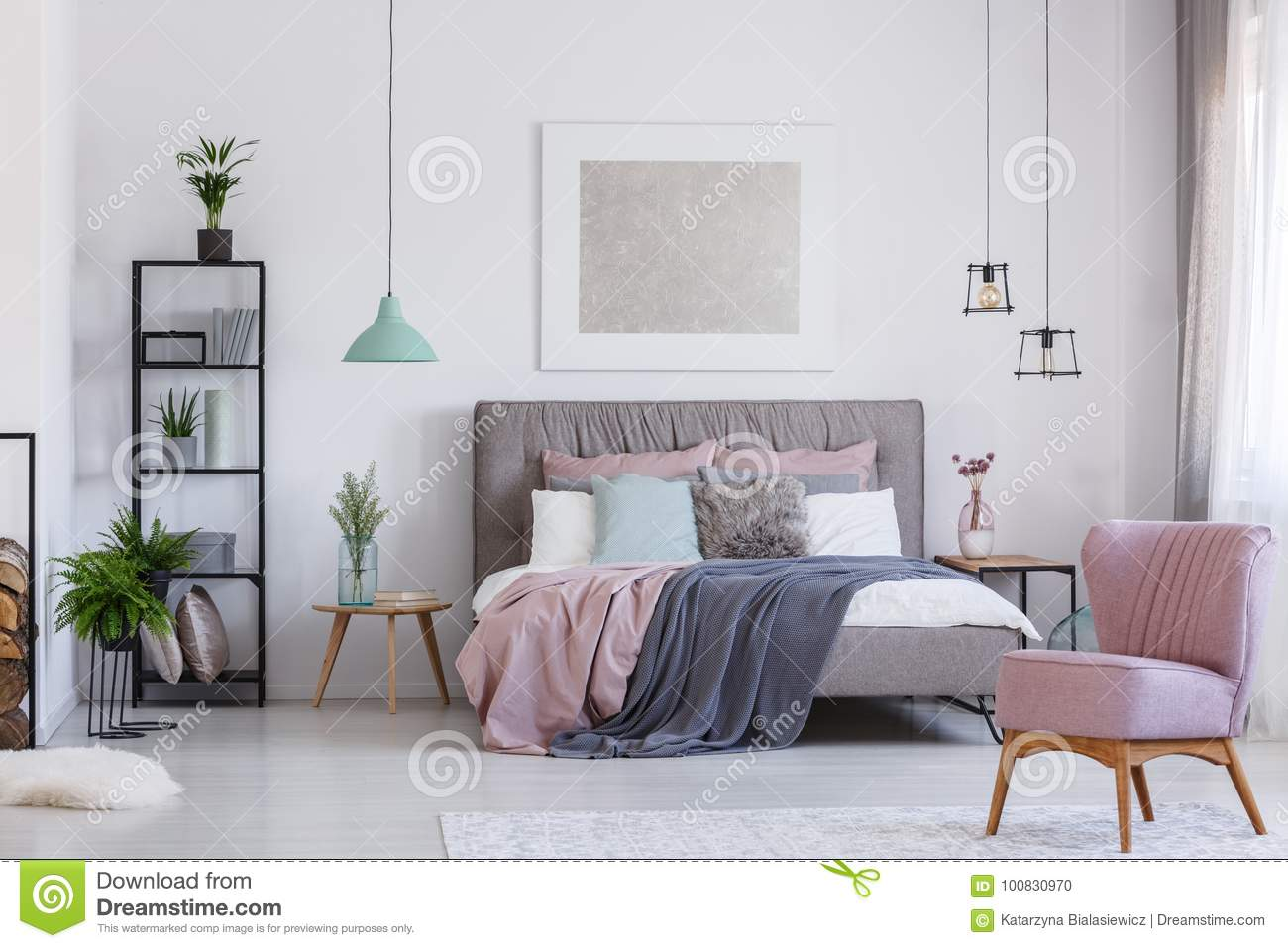 Pink Chair In Adorable Bedroom Stock Photo - Image of floor, lamp ...