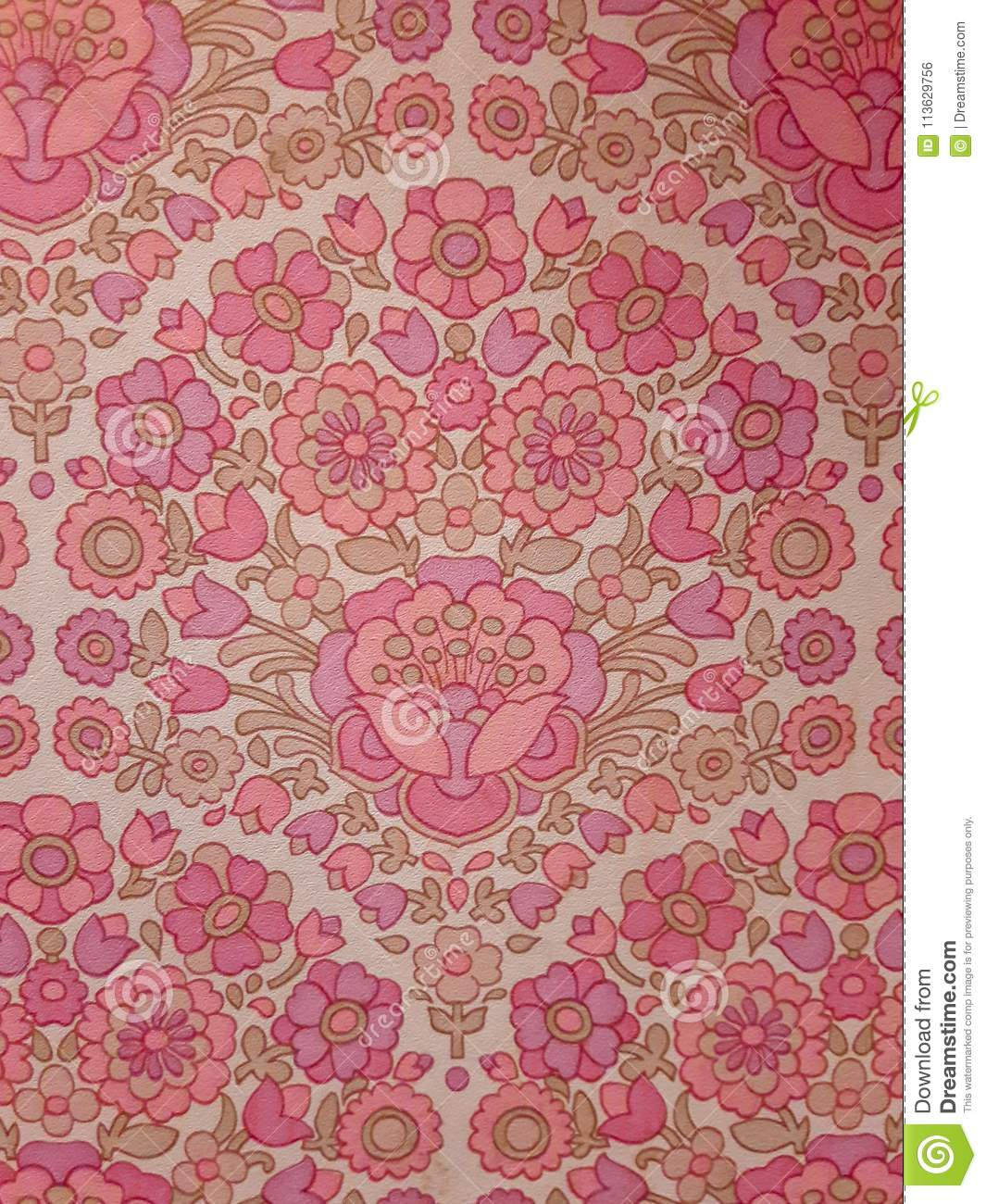 Retro Pink Flower Pattern On Old Wallpaper