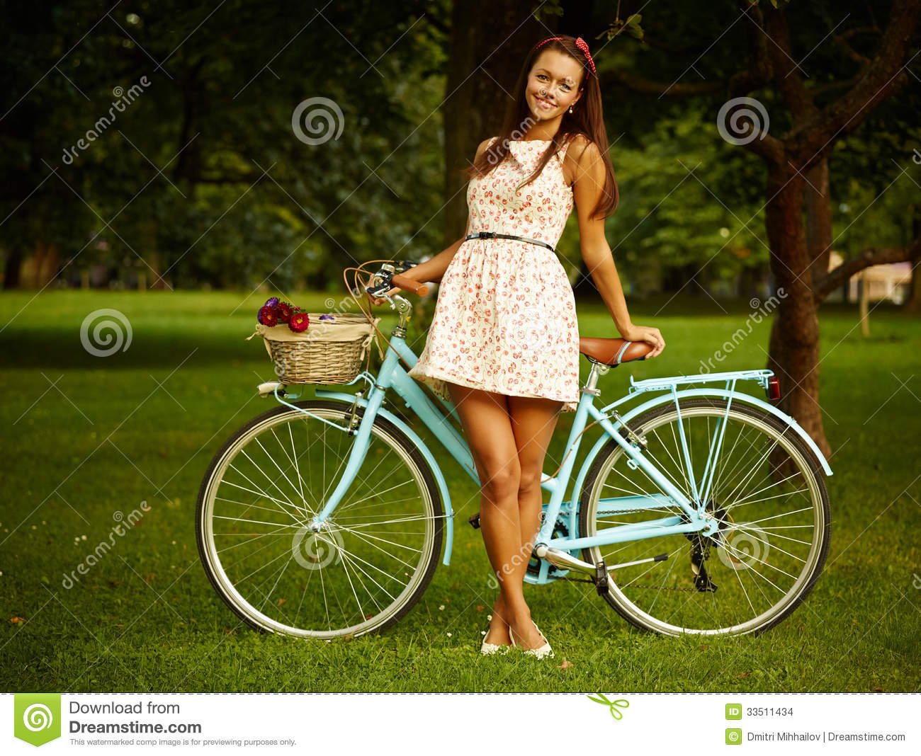 Retro pinup girl with bike