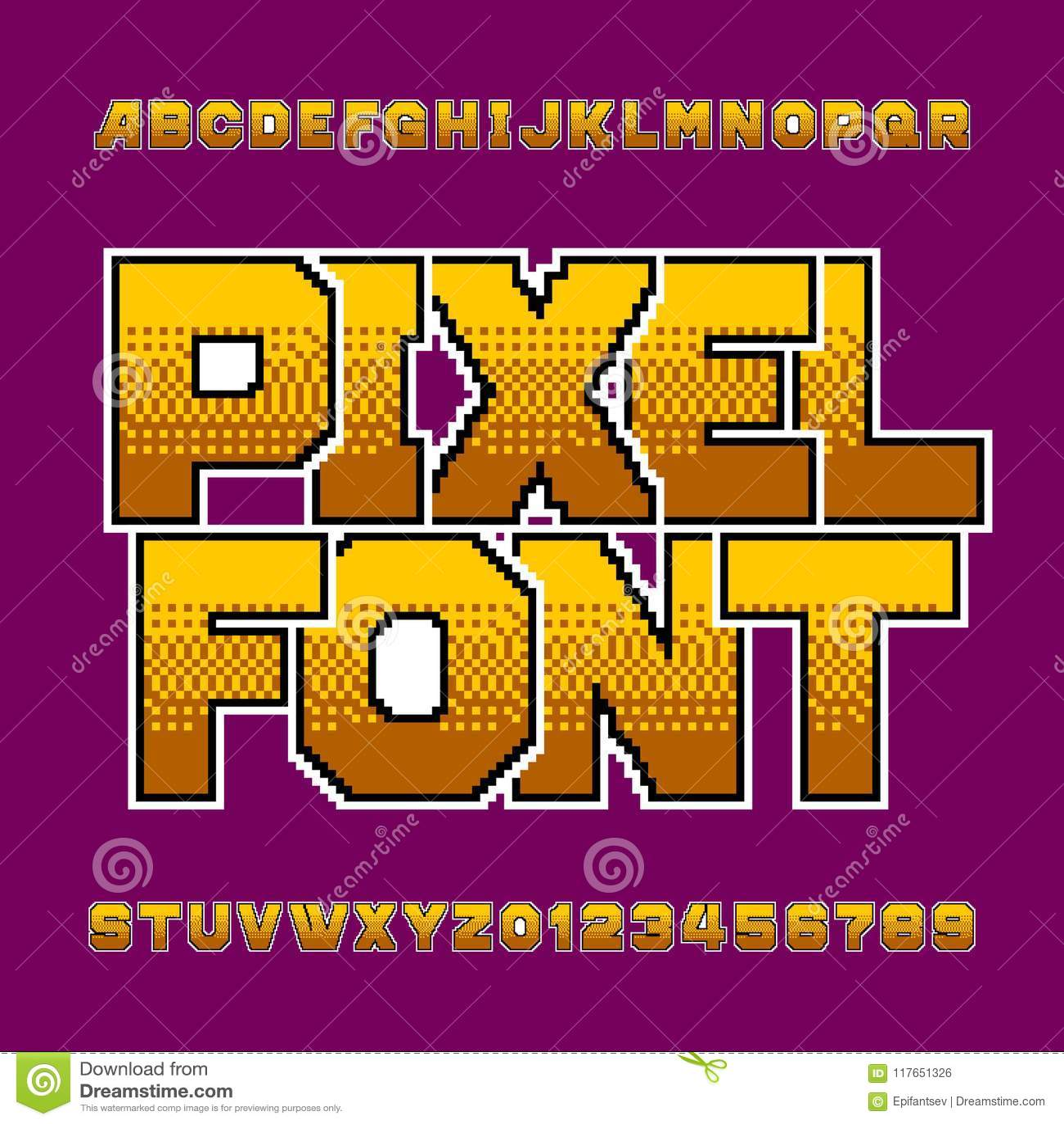 Retro Pixel Alphabet Font. Bright Digital Gradient Letters