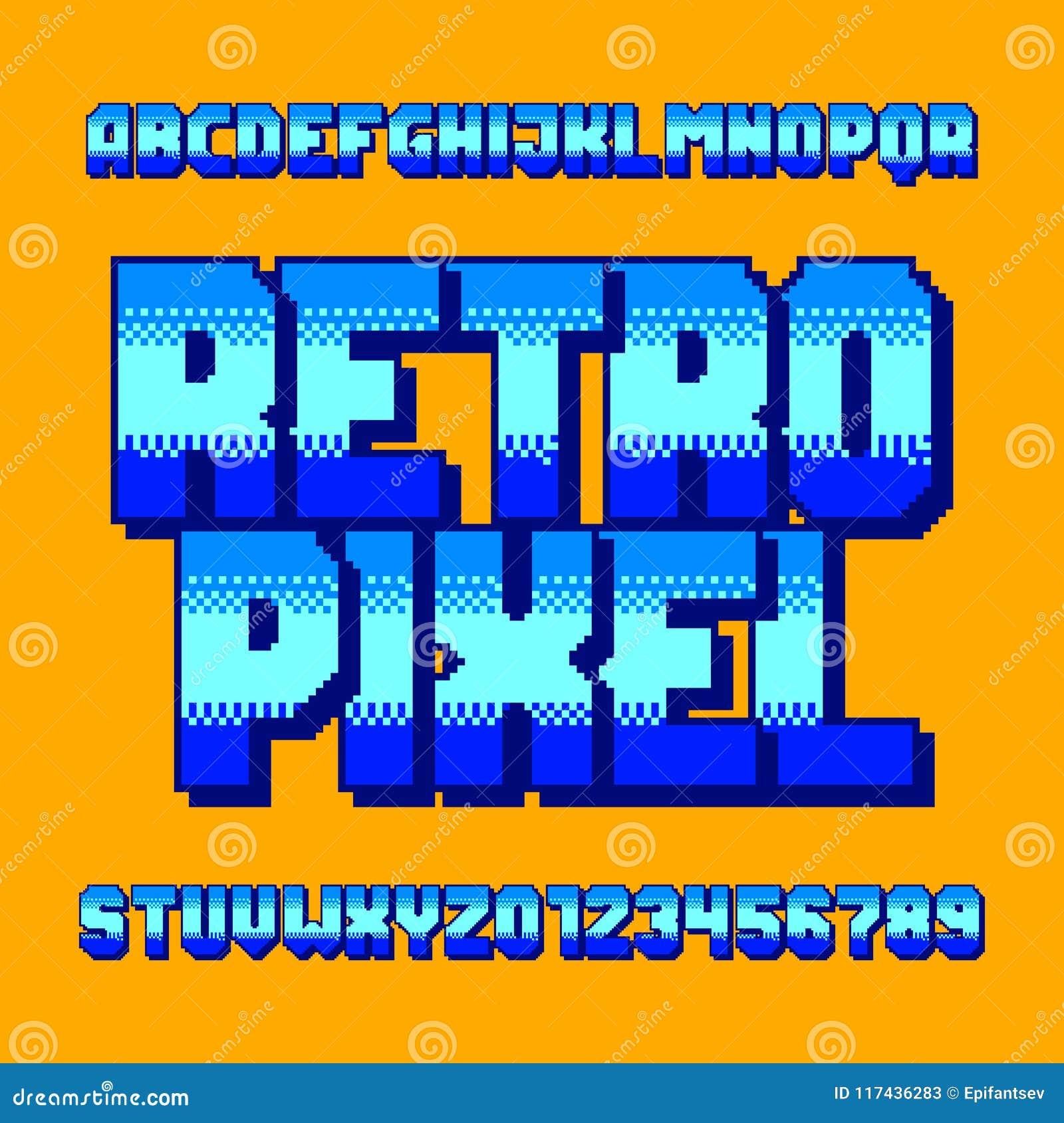 Retro Pixel Alphabet Font. Digital Gradient Letters And
