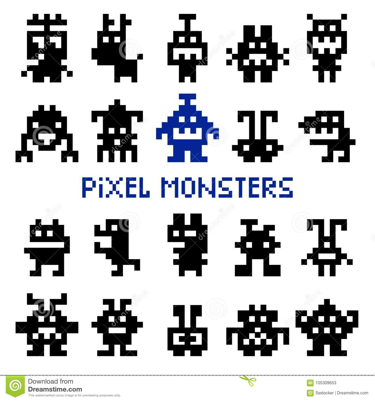 Retro pixel space monsters editorial stock photo ...