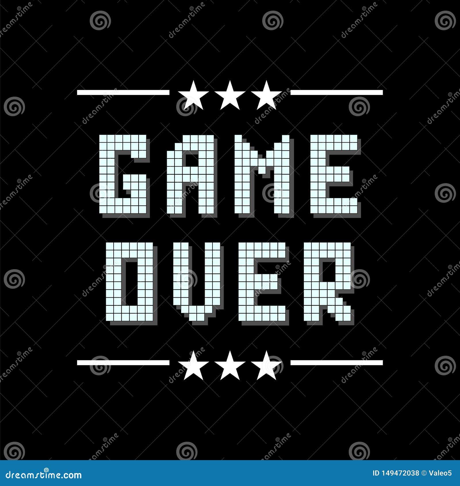Retro- Pixel-Spiel ?ber Zeichen mit Sternen auf schwarzem Hintergrund Spielkonzept Videospiel-Schirm