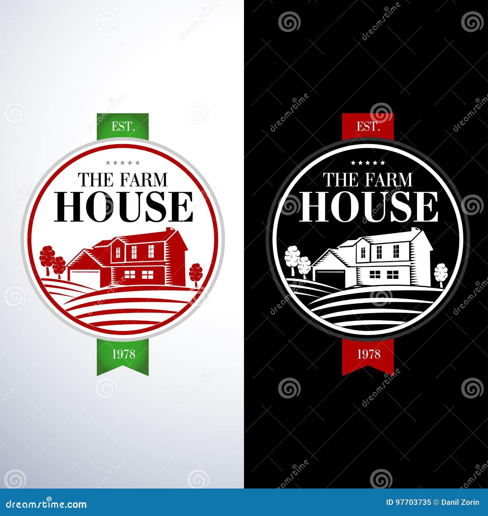 Retro, Plantillas Del Logotipo Del Concepto De La Casa De La Granja ...