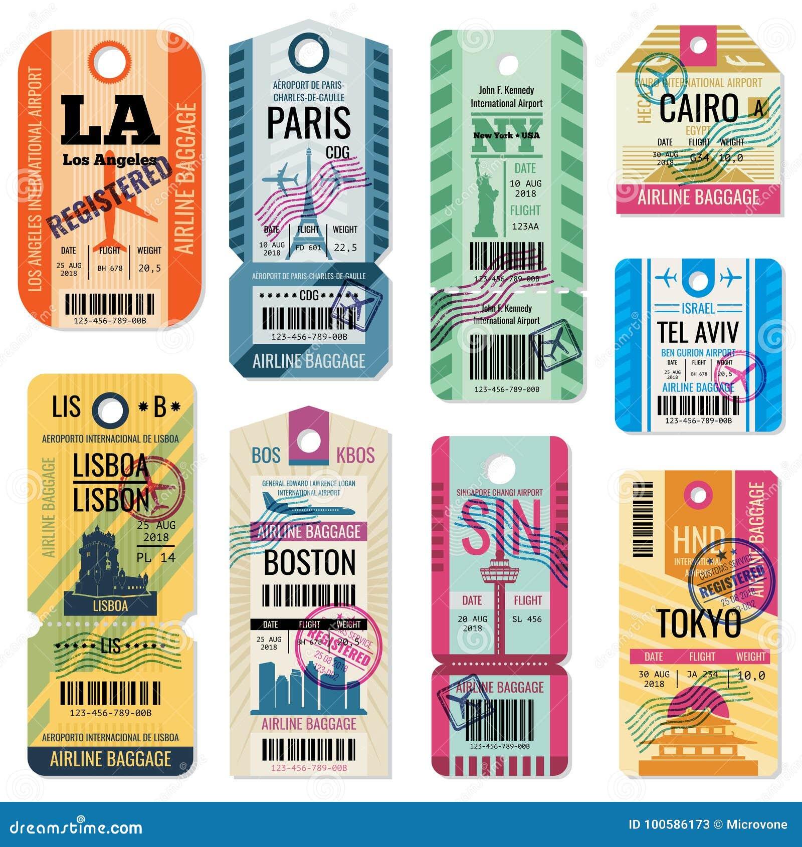 Retro podróż bagażu etykietki i bagażowi bilety z lota symbolu wektoru kolekcją