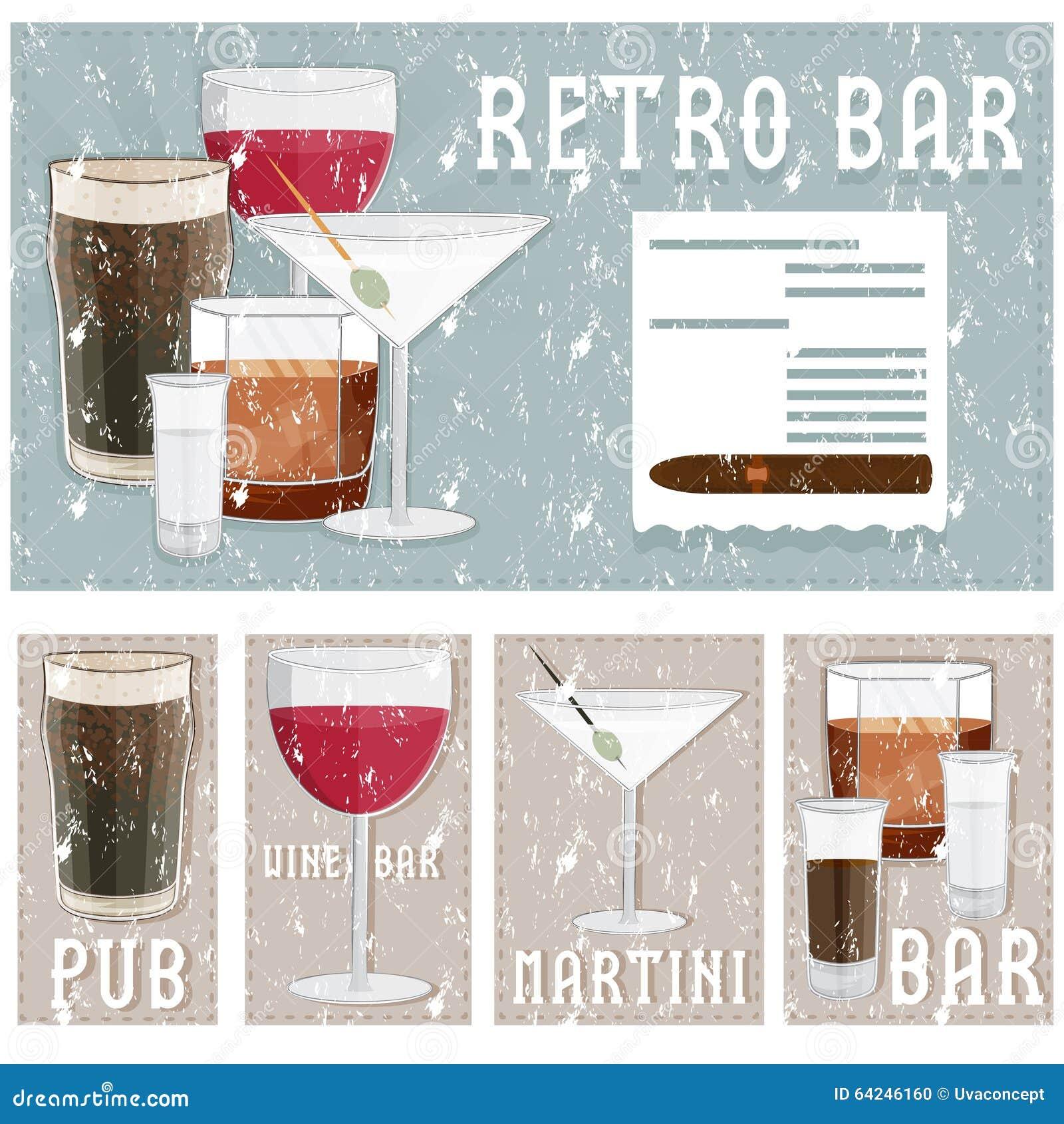 Retro Poster Bar Glasses Different Drinks Grunge Natural Fresh Fruit Juice