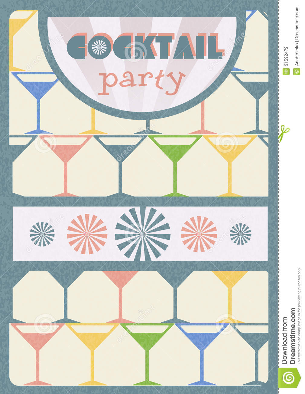 Retro Poster. Cocktail Party Stock Photography - Image ...