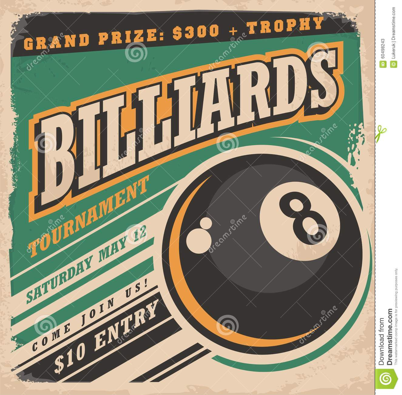 Retro poster design for billiards tournament. Vintage ad concept with ...