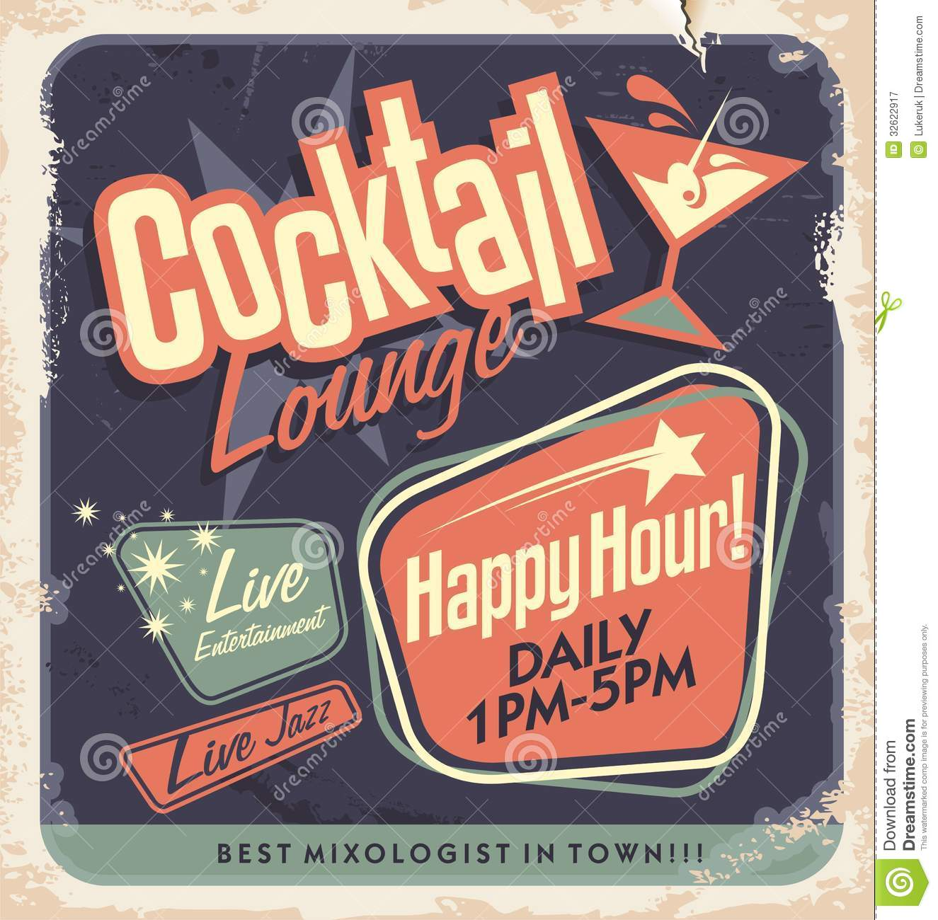Retro poster design for cocktail lounge
