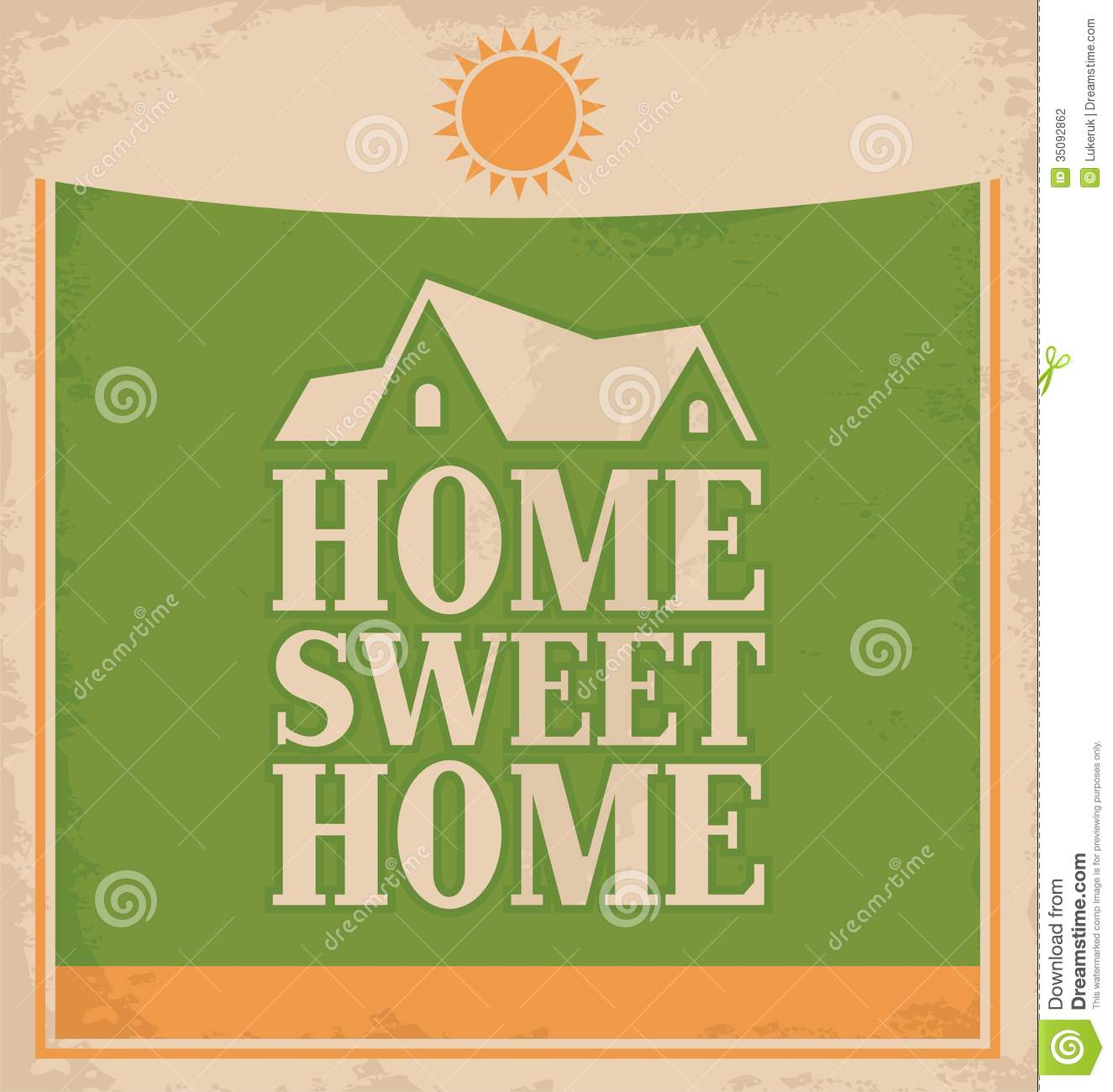 Retro poster design stock photography image 35092862 - Home sweet home designs ...