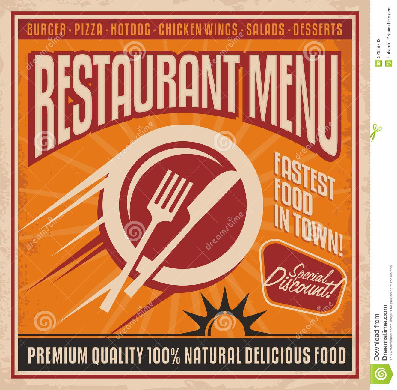retro poster template for fast food restaurant stock vector