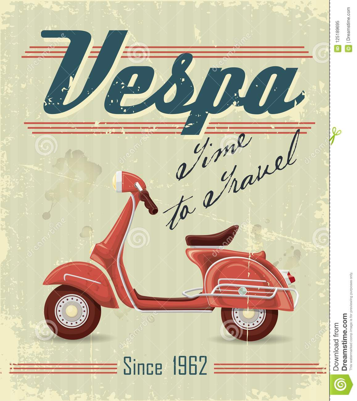 Retro poster with Vespa moped