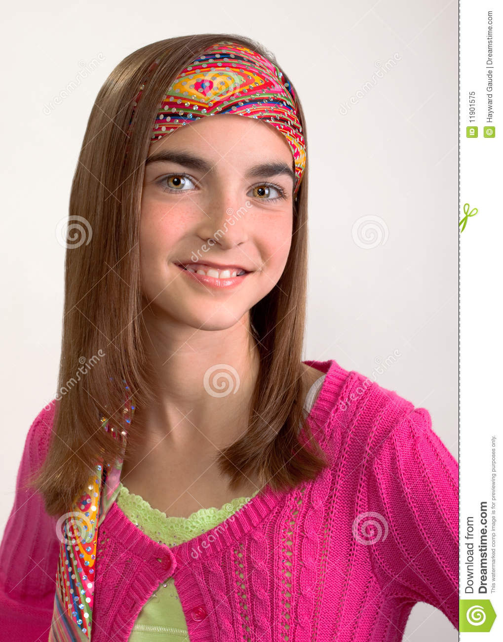 Young pre-teen girl in retro 1960's outfit.