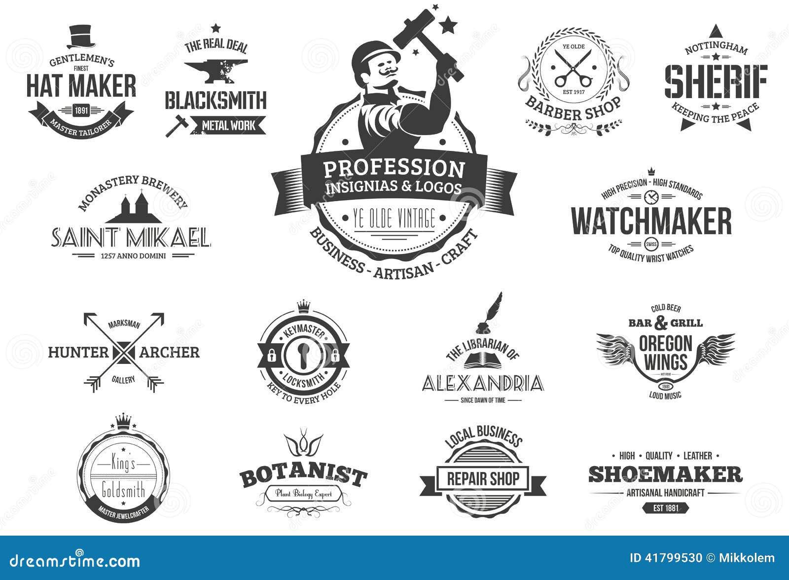 Retro Profession Logos Stock Vector Illustration Of