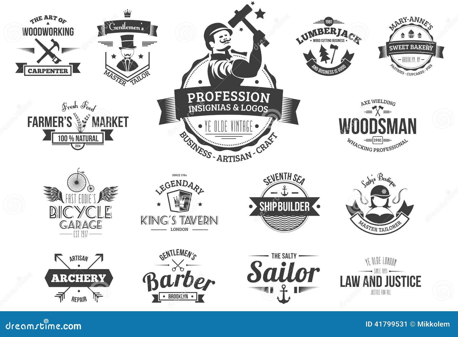 retro profession logos stock vector  illustration of naval