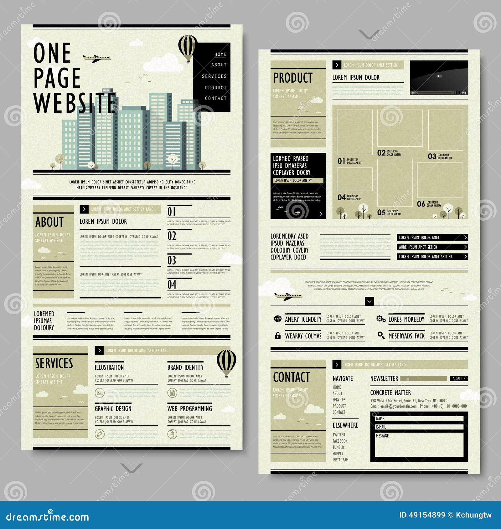 Retro progettazione del sito Web della pagina di stile uno