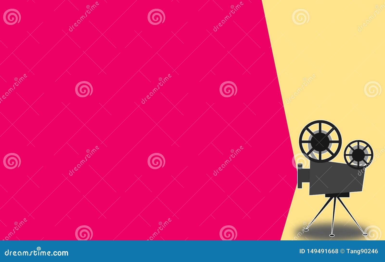 Retro proiettore del cinema con il posto del testo