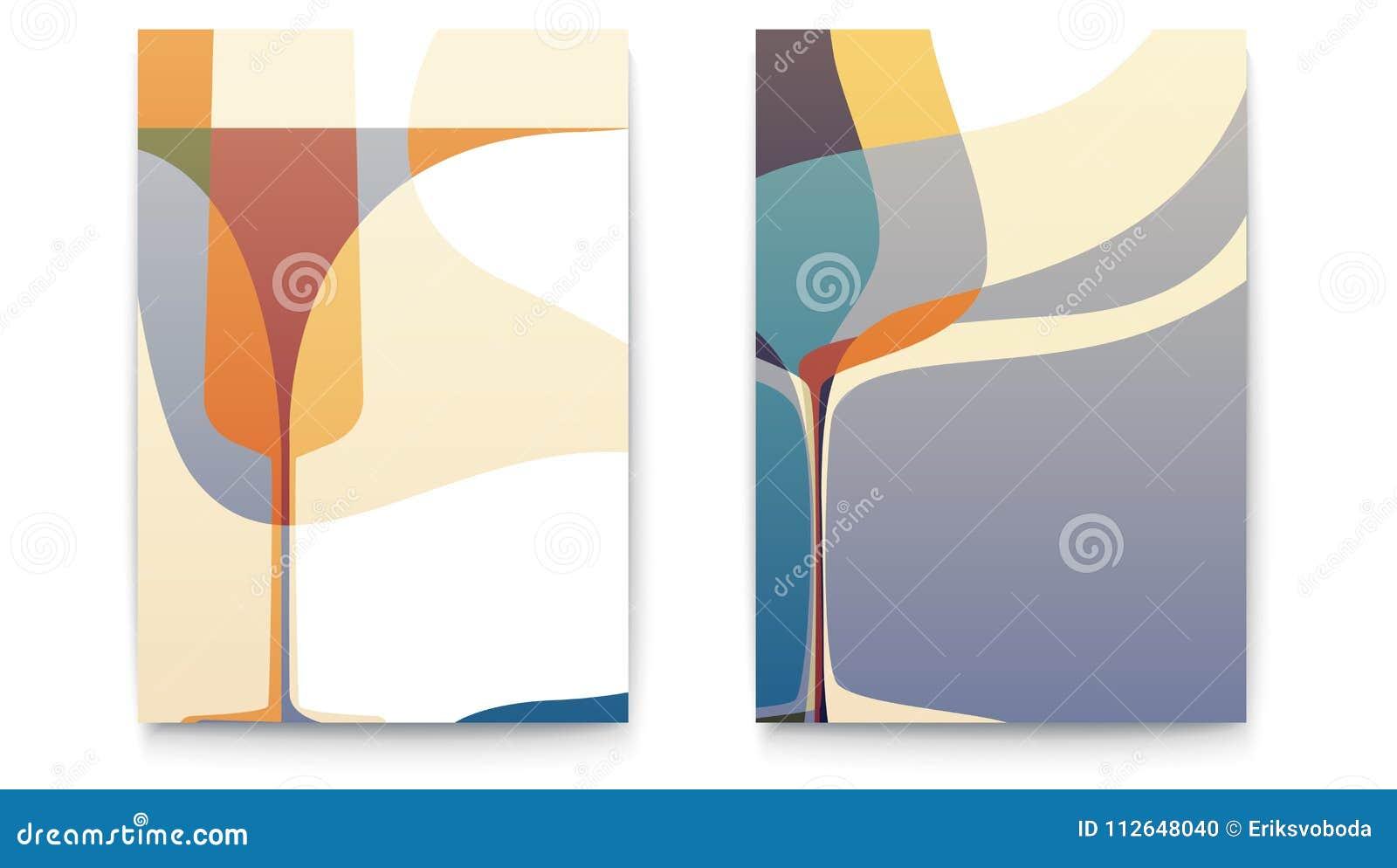 Retro projektów szablony dla restauracyjnej menu karty z sylwetki wina szkłem Abstrakcjonistyczni tła dla Cukiernianego menu Set
