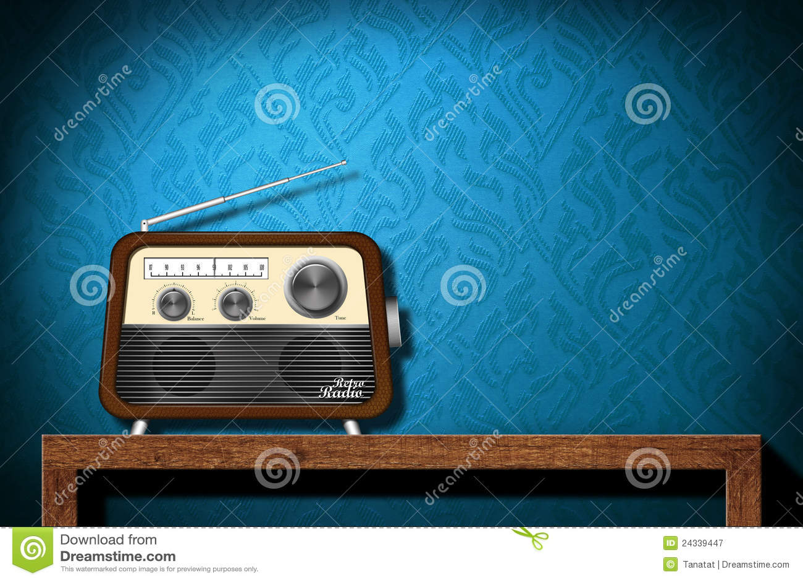 Vintage Radio Wallpaper Retro radio on wood table with