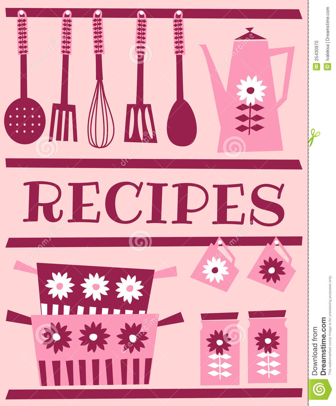 Illustration of kitchen accessories in retro style. Recipe card design ...